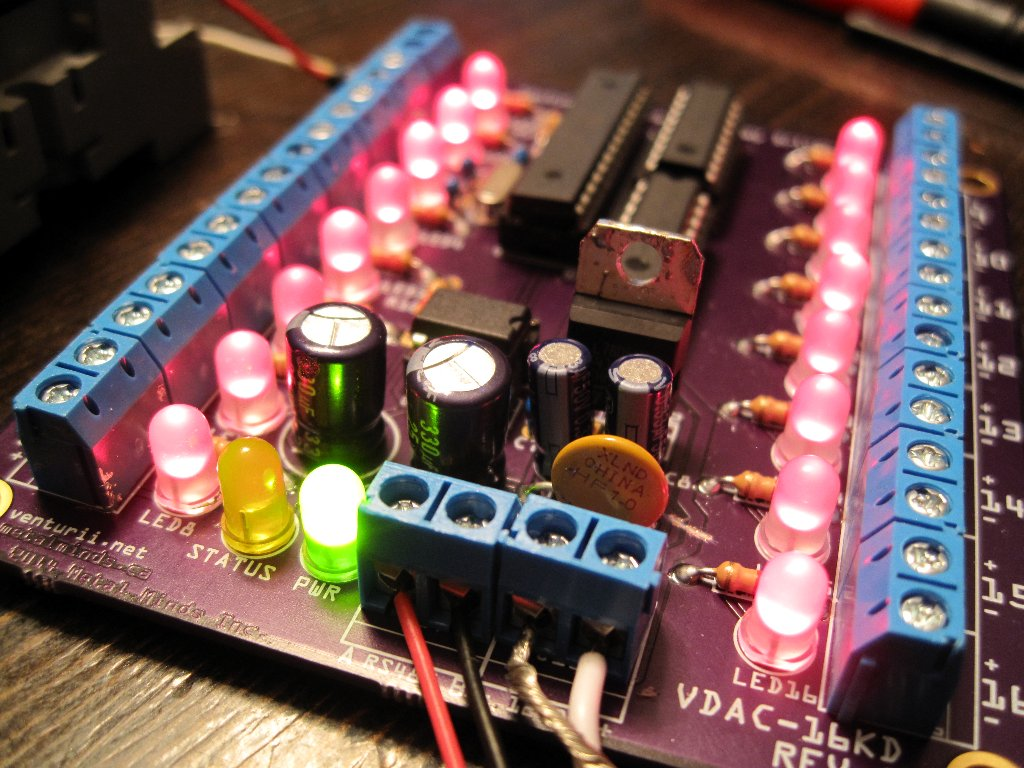The first Venturii-based circuit board comes to life, showing all it's outputs active.