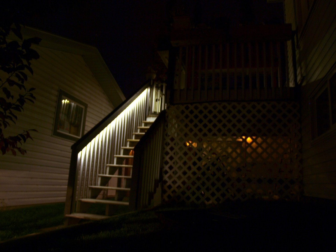 A strip of 5050 LED lights illumintate the stairs of my deck.