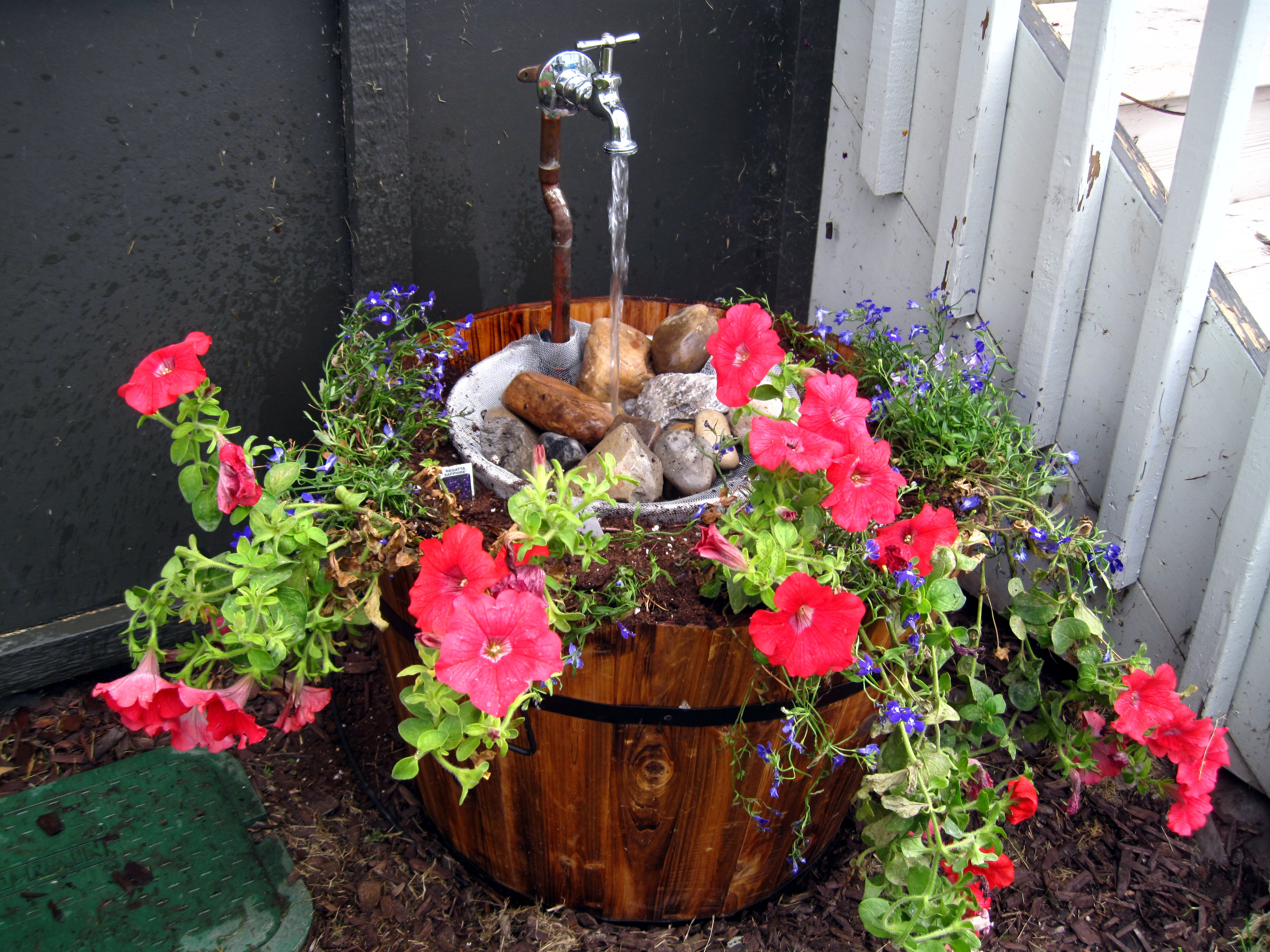 Five Gallon Bucket Water Fountain In A Whiskey Barrel Project The