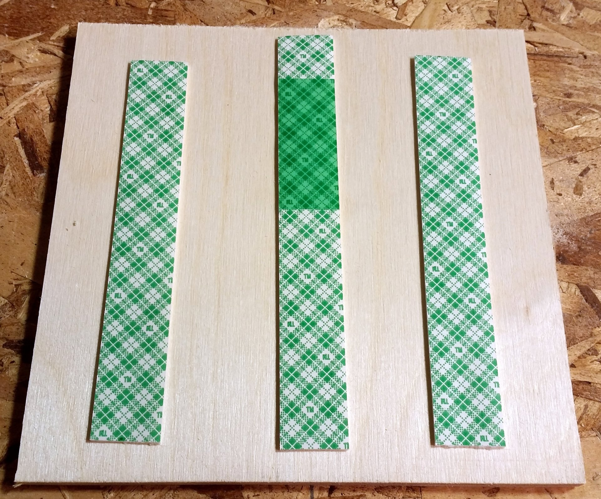 "Quarter Inch 5x5"" Baltic Plywood with 3M Mounting Tape Strips"
