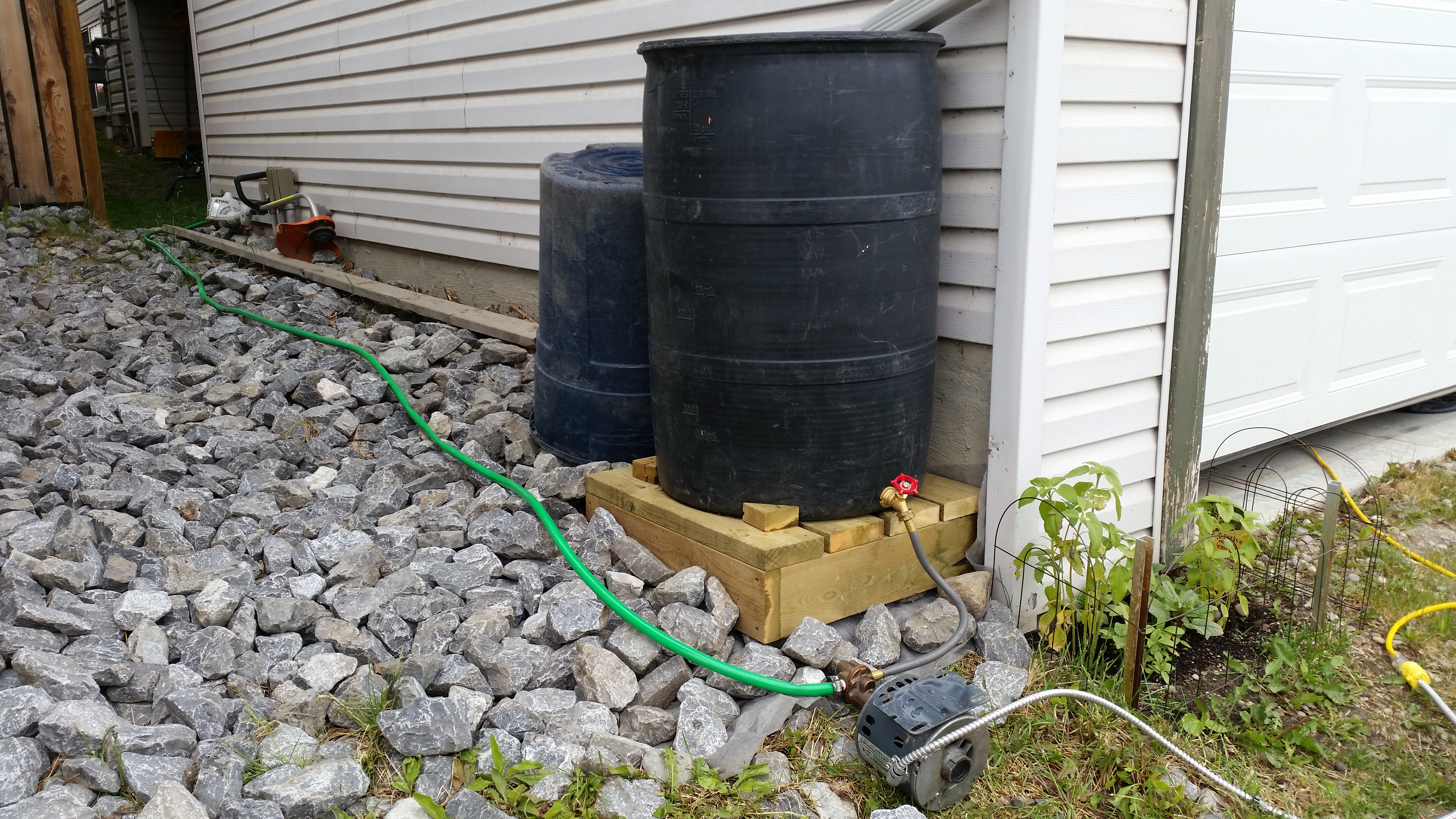 Using a small pump, we transferred the contents of the rain barrel under the down spout to other barrels stored under the deck.